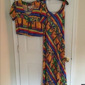 Long multi colored dress with short sleeve jacket